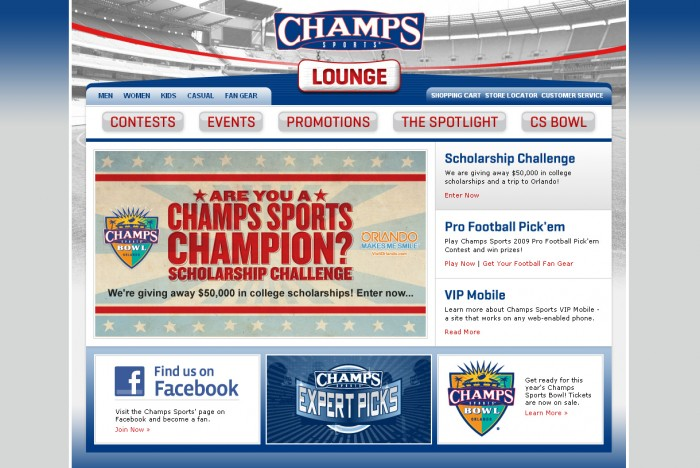 Champs Sports Lounge Homepage