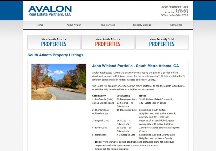 Avalon Real Estate Partners Website
