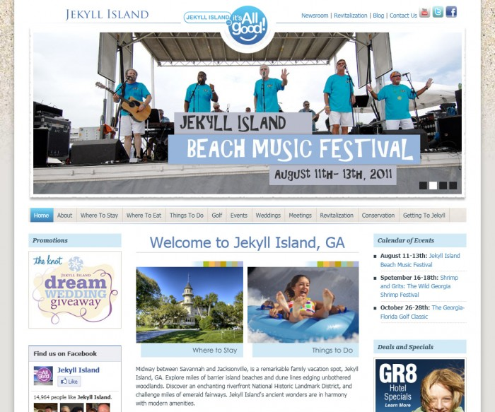 Jekyll Island Website Homepage