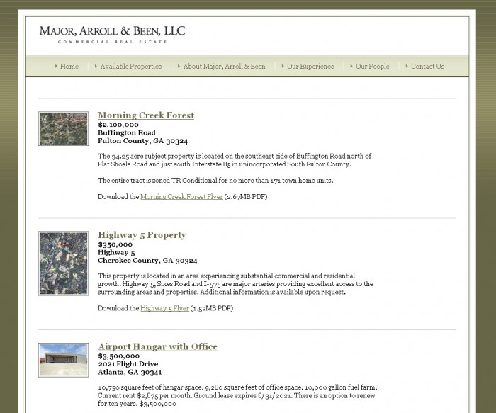 Major, Arroll & Been Property Page