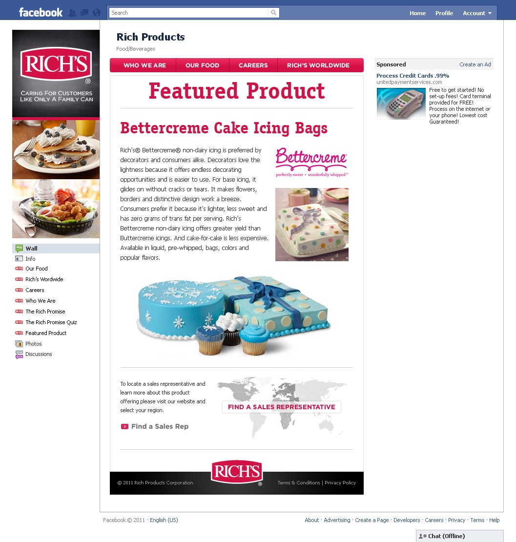 Rich's Facebook Featured Product Page